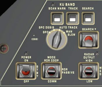 Ku-Band antenna controls on A1U panel